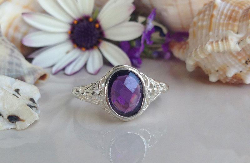 Mariage - 20% off-SALE!! February Birthstone Jewelry - Amethyst Ring - Silver Ring -  Vintage Band - Lace Ring - Engagement Ring - Antique Ring