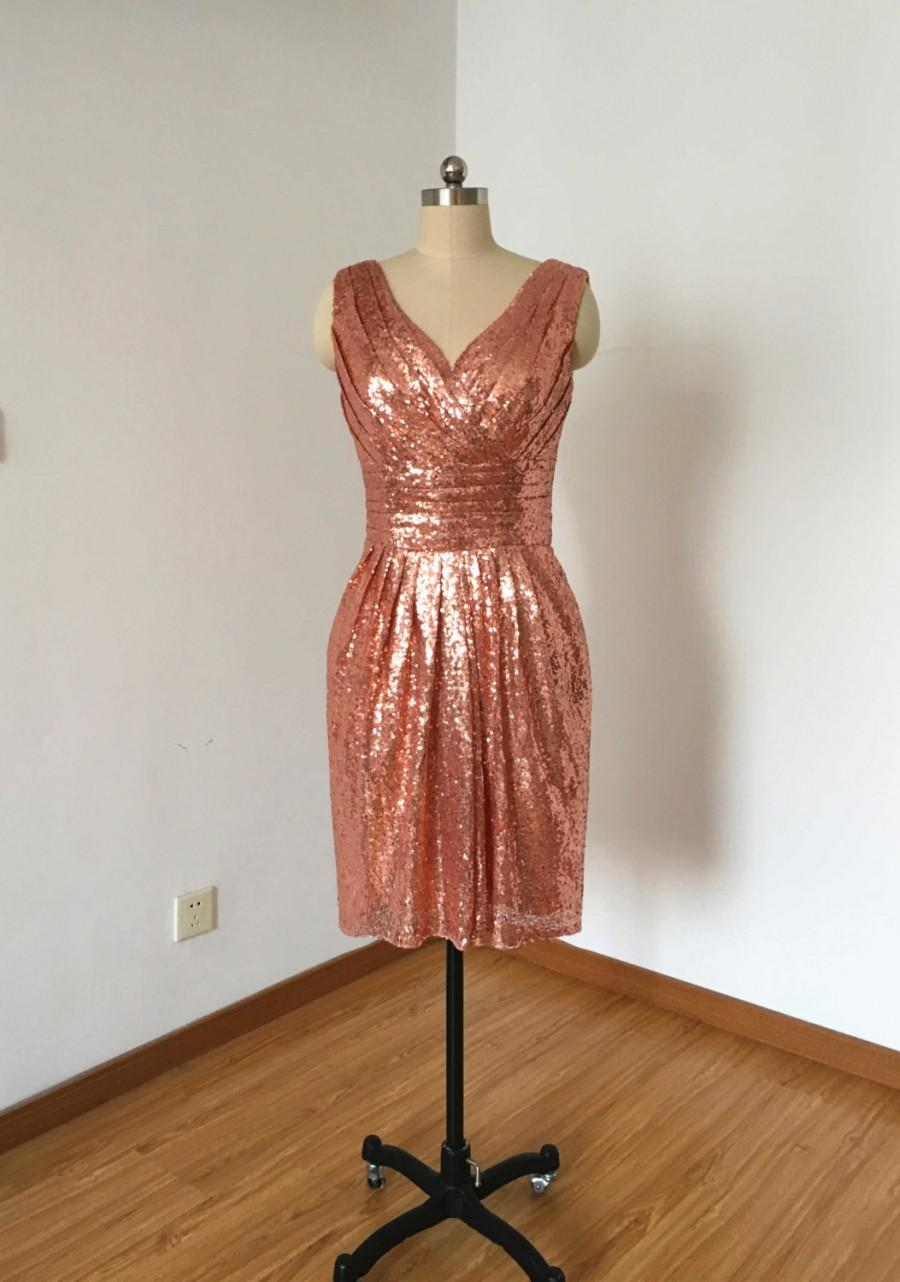 Wedding - Sheath V-neck V-back Rose Gold Sequin Short Bridesmaid Dress