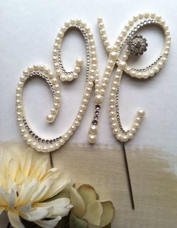 Hochzeit - Ready To Purchase And Design Letter M Pearl Cake Topper Monogram Wedding Cake Topper W/ Swarovski Crystals Destination Wedding