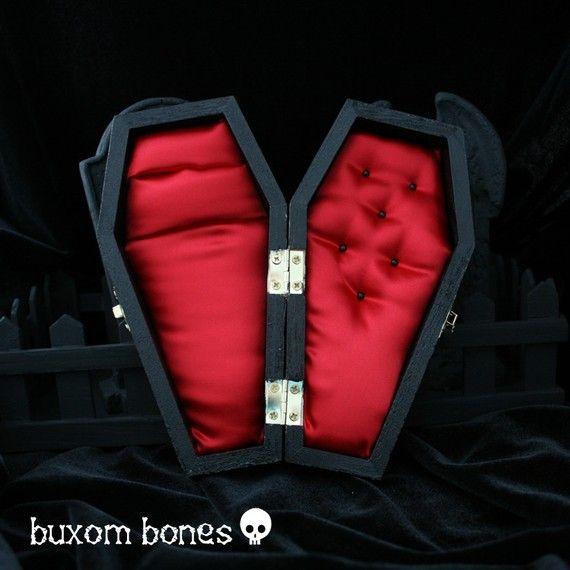 Gothic Wedding Coffin Jewelry Box Halloween Wedding Keepsake