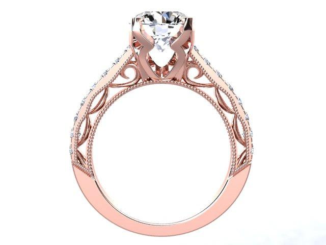 Art deco design rose gold engagement ring 14kt rose gold 1 for Deco maison rose gold