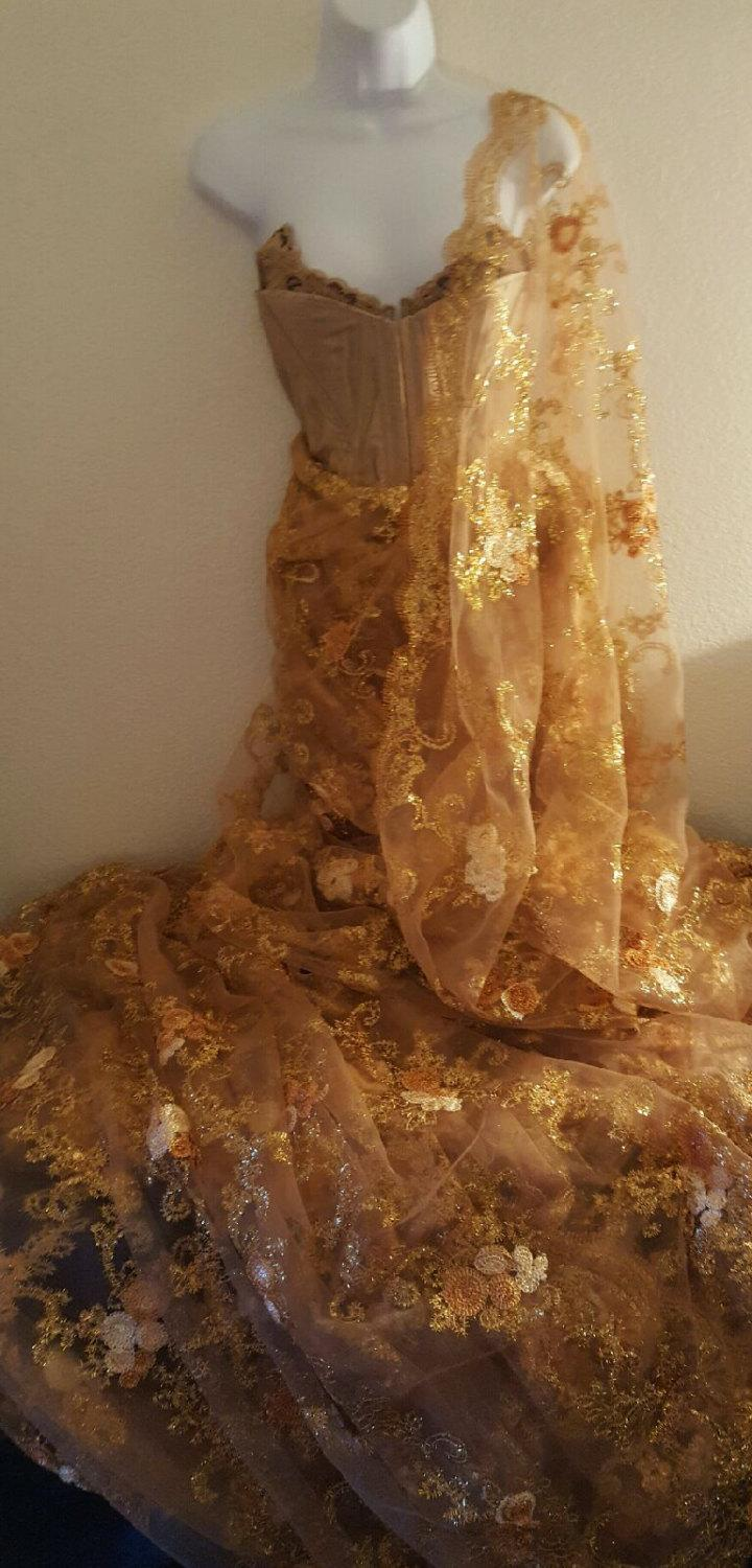 Mariage - Exotic Golden Goddess Strapless Corset Embroidered Sequined Lace Indian Saree Sari Bridal Sheath Ballgown