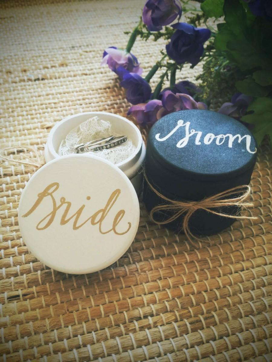 Свадьба - Ring Box Bride and Groom,  Ring Bearer Boxes with Lace, Rustic Vintage Weddings, Wedding Ring Bearer Box, Gold Wedding, Matte Finish