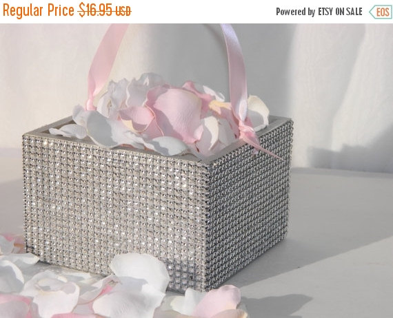 Свадьба - 10% off ends at 5pm Flower Girl Basket + Silver Rhinestone wrapped wood Flower Girl Basket with ribbon Handle  (6 x 6)