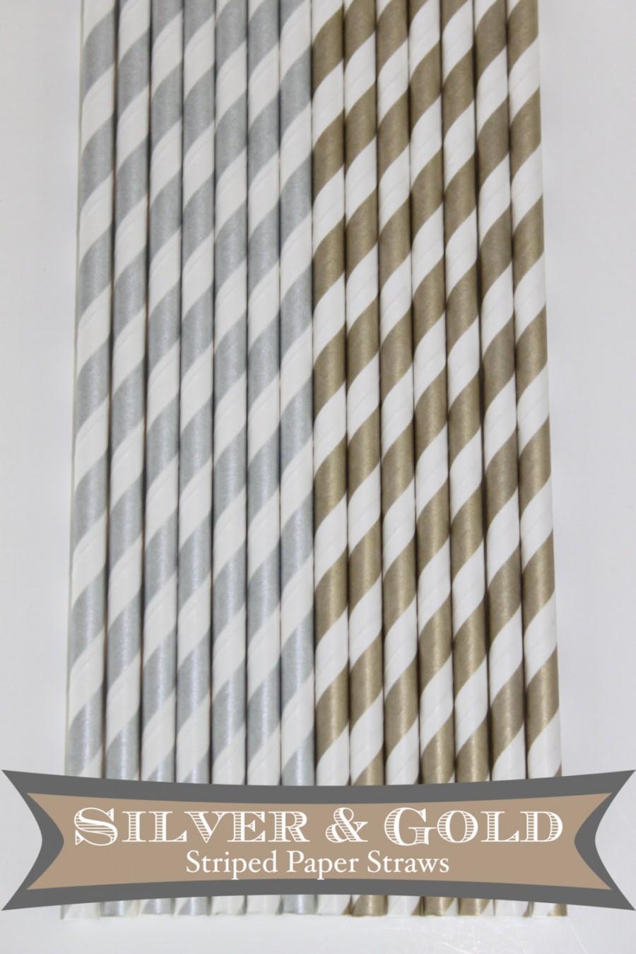Свадьба - 25 Silver and Gold stripe PAPER STRAWS Wedding bridal shower event cake pop sticks Bonus diy straws flag