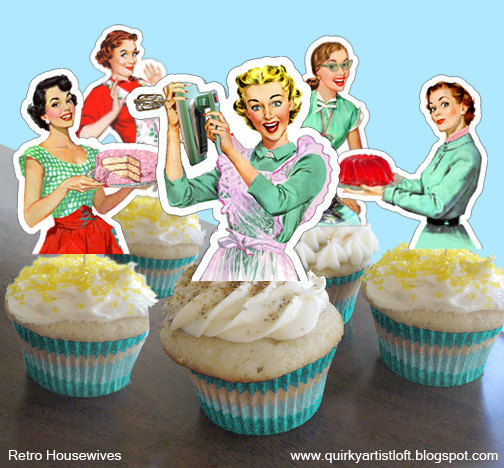 Свадьба - PDF Printable, Retro Bridal shower, Cupcake Toppers, Housewife