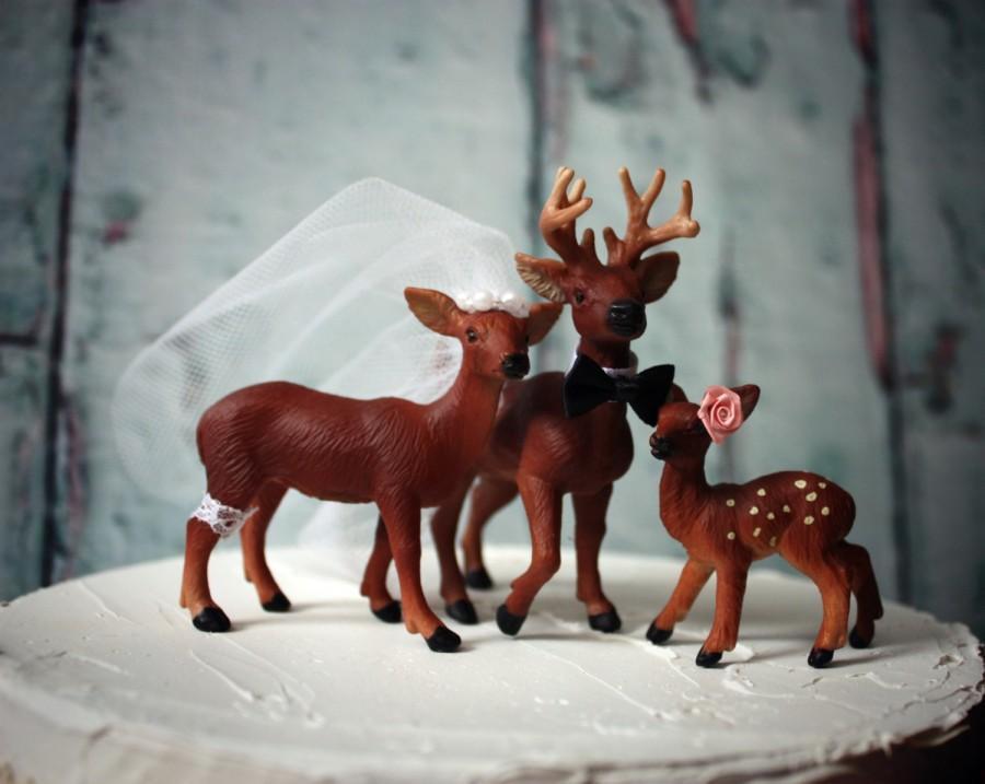 Свадьба - Cake topper-deer family-wedding-deer-buck doe fawn-family-hunting-deer hunting-bride-groom-camouflage-hunting wedding-woodland-Forrest