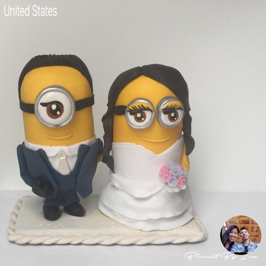 Wedding - Minions Wedding Cake topper (cold porcelain)