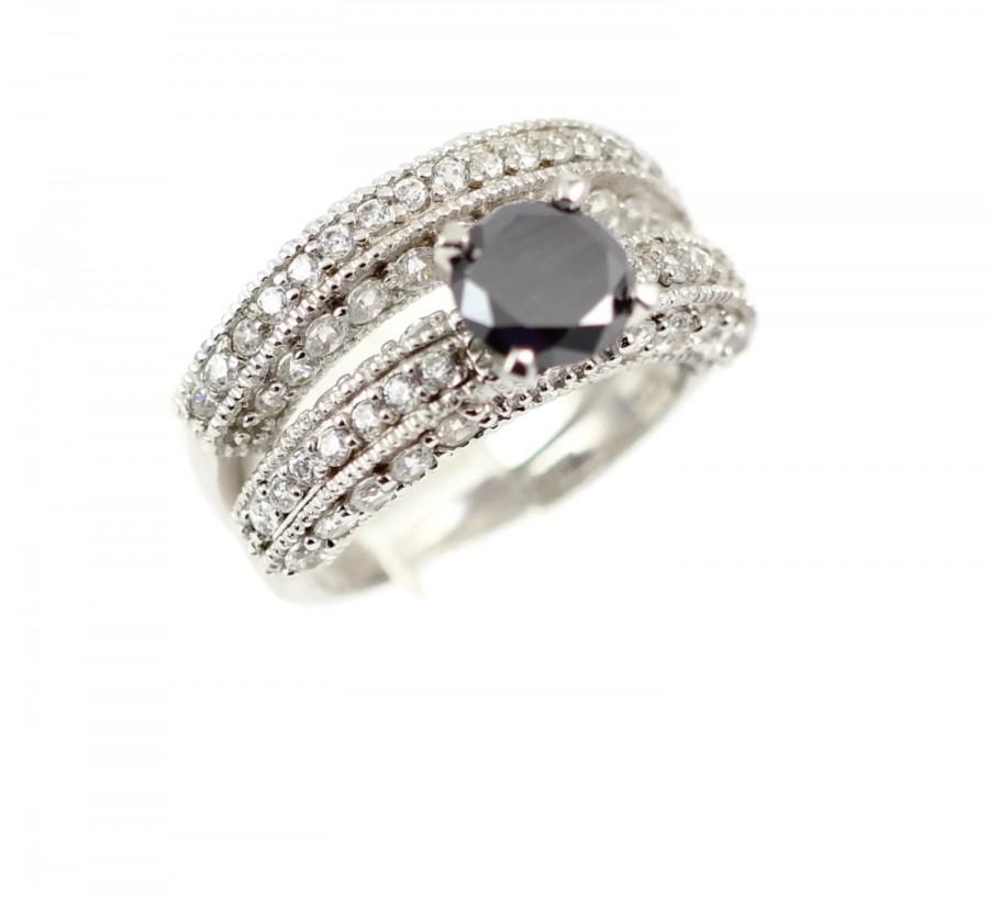 زفاف - 925 Sterling Silver 2 Piece Wedding Engagement Anniversary Bridal Set Ring and Band 1.50 Carat Round Black Diamond Moissanite Russian CZ