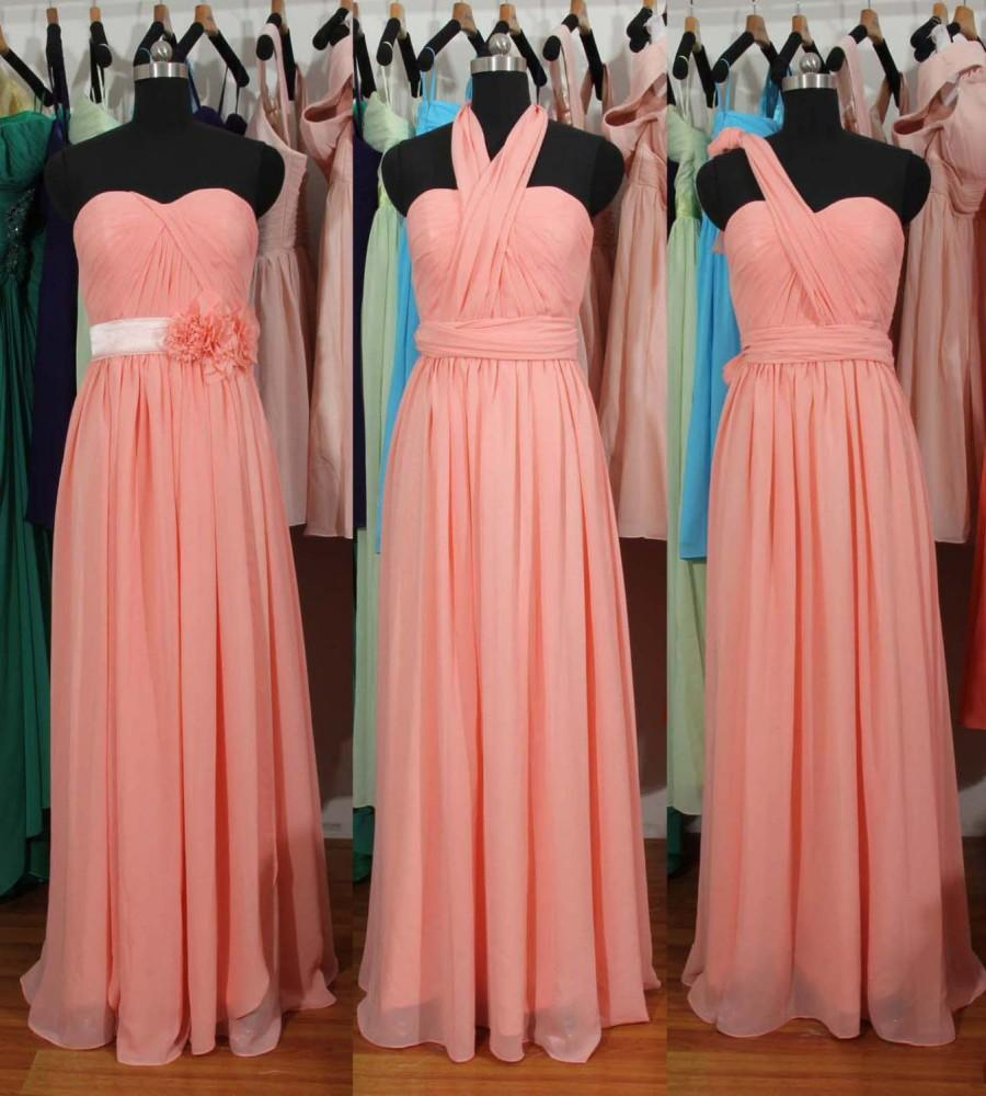 peach pink bridesmaid dress long pink convertible chiffon