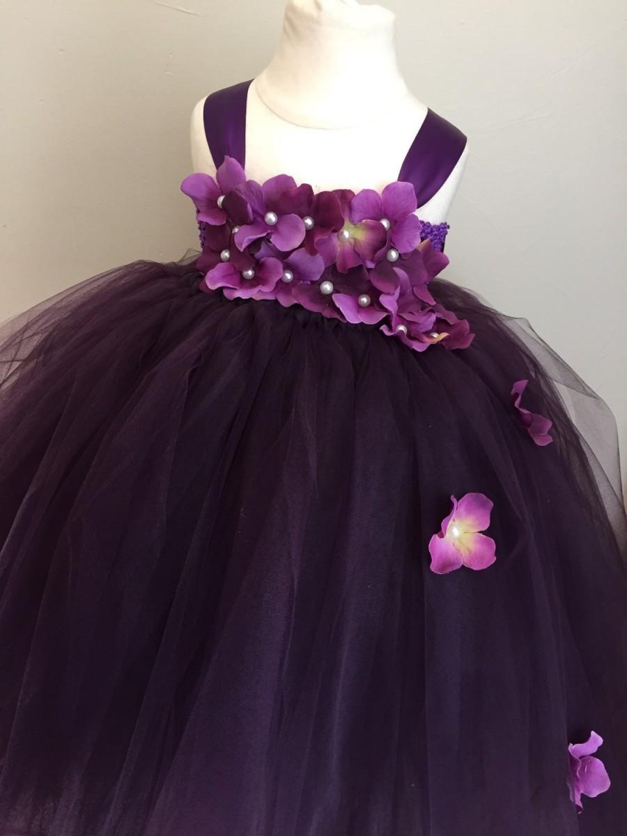 90e4154c05a Plum Tulle Flower Girl Dress
