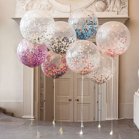 Mariage - Giant Round Clear Balloons With Confetti Inside Weddings, Birthdays Party Decor