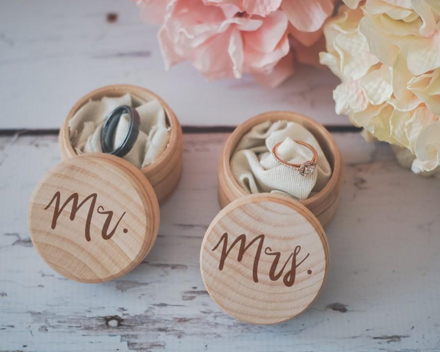 Mr Mrs Ring Box Set Engraved Wedding Ring Box Wooden Ring