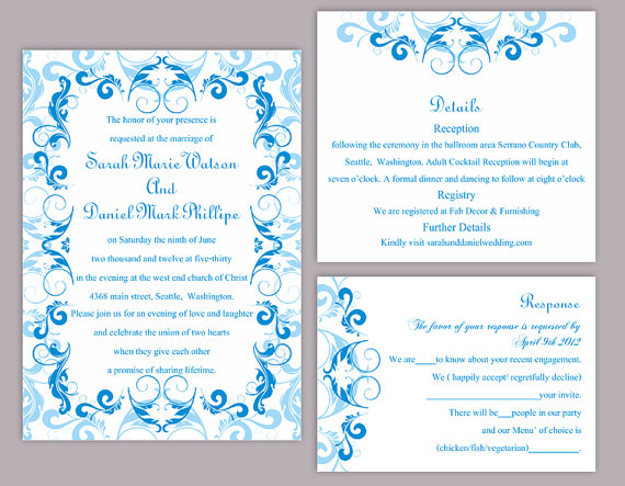 DIY Wedding Invitation Template Set Editable Word File Instant - Wedding invitation templates: wedding invitation template download and print