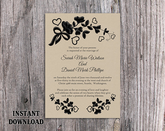 Diy lace wedding invitation template editable word file for Diy rustic chic wedding invitations free printable template ahandcraftedwedding