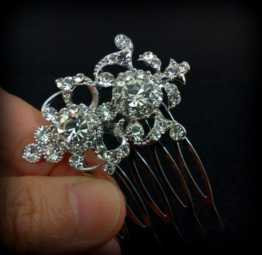 Hochzeit - Crystal Bridal Hair Comb, Swarovski Hair Jewelry, Silver Wedding Headpiece, ARMANIA