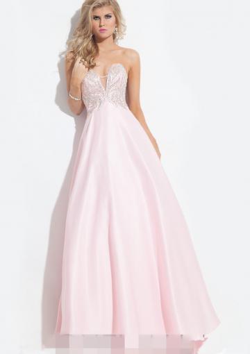 Wedding - Zipper Satin Pink Beading Sweetheart Ruched Floor Length
