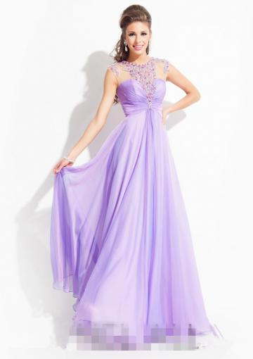 Hochzeit - Straps Crystals Open Back Tulle Chiffon Ruched Lilac Floor Length