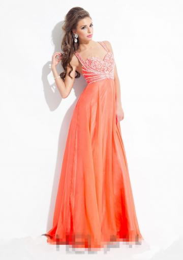 Wedding - Straps Blue Criss Cross Chiffon Floor Length Ruched Crystals Orange