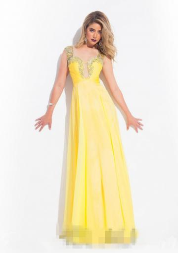 Свадьба - Sweetheart Cap Sleeves Crystals Blue Ruched Zipper Yellow Chiffon Floor Length