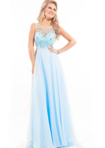 Wedding - Appliques Crystals Scoop Blue Blush Chiffon Ruched V-back Floor Length