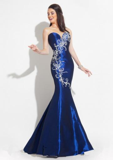 زفاف - Straps Satin Blue Pink Crystals Floor Length Mermaid