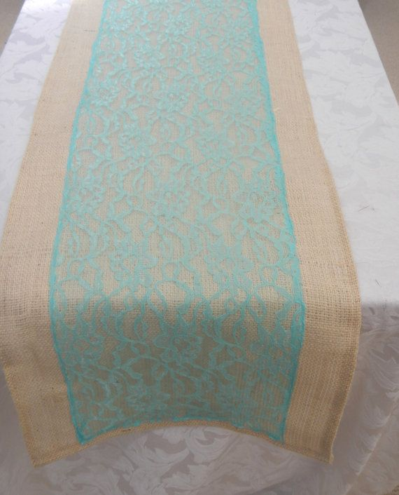Burlap Table Runner With Aqua Lace, Wedding, Party, Home Decor, Custom Size  Available