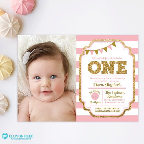 Pink and gold invitation 1st birthday invitation girl birthday pink and gold invitation 1st birthday invitation girl birthday invitation gold glitter invitation printable invite kids birthday filmwisefo