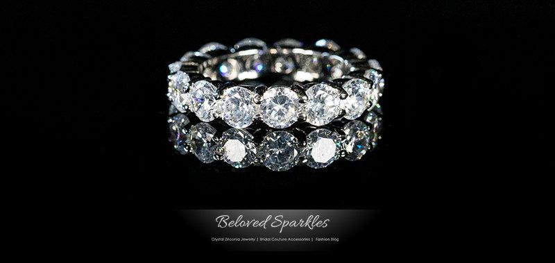 Elana Eternity Ring 85 Carat Round Cut CZ Wedding Ring925 Sterling Silver Cubic Zirconia Anniversary Promise Band BR107385RS