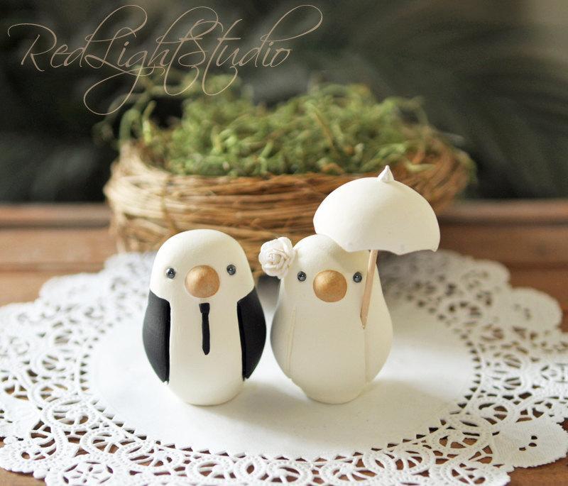 Свадьба - Custom Wedding Cake Topper - Small Hand Painted Love Birds