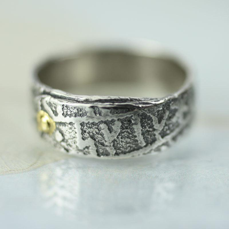 Mariage - Overlap Sterling Rune Stone Band Ring With Gold Rivet