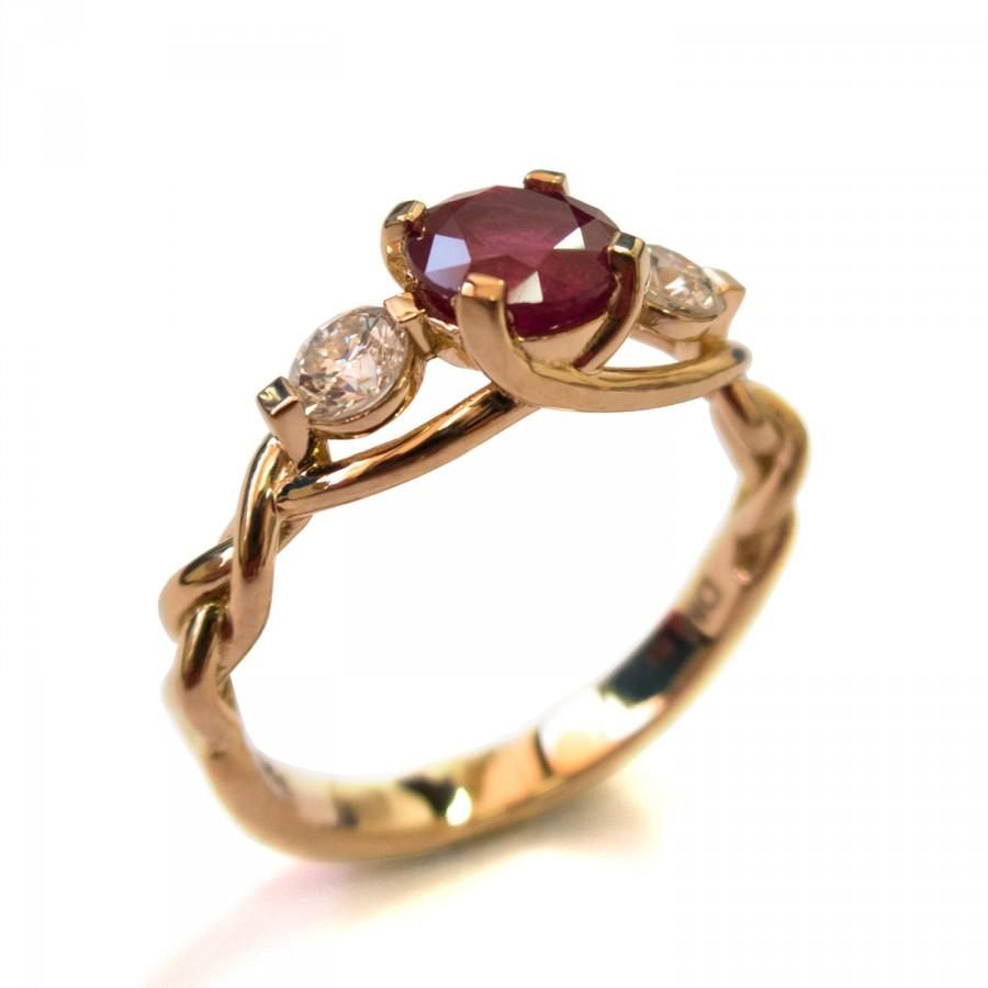 Braided Engagement Ring  Ruby And Diamond Engagement Ring, Rose Gold Diamond  Ring, Unique Engagement Ring, Celtic Ring, Three Stone Ring, 7