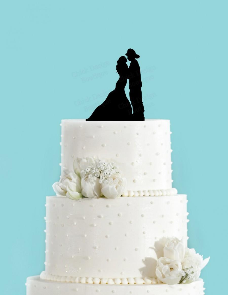 Wedding - Firefighter Couple Acrylic Wedding Cake Topper
