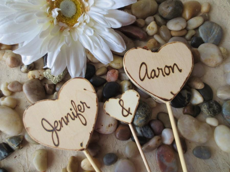 Wedding - Rustic Wedding Cake Toppers Personalized 3 Piece Set with your Names Rustic Decor