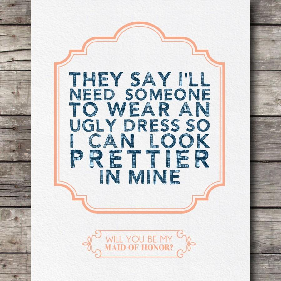 Wedding - Will you be My Maid of Honor Card - Customizable - Digital Ready to Print