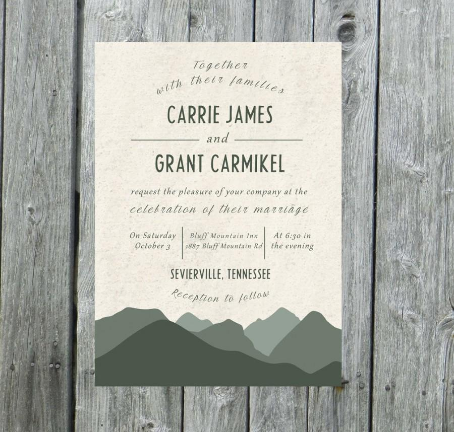 زفاف - Mountain Wedding Invitation, mountain wedding invite, outdoor wedding invitation, mountains