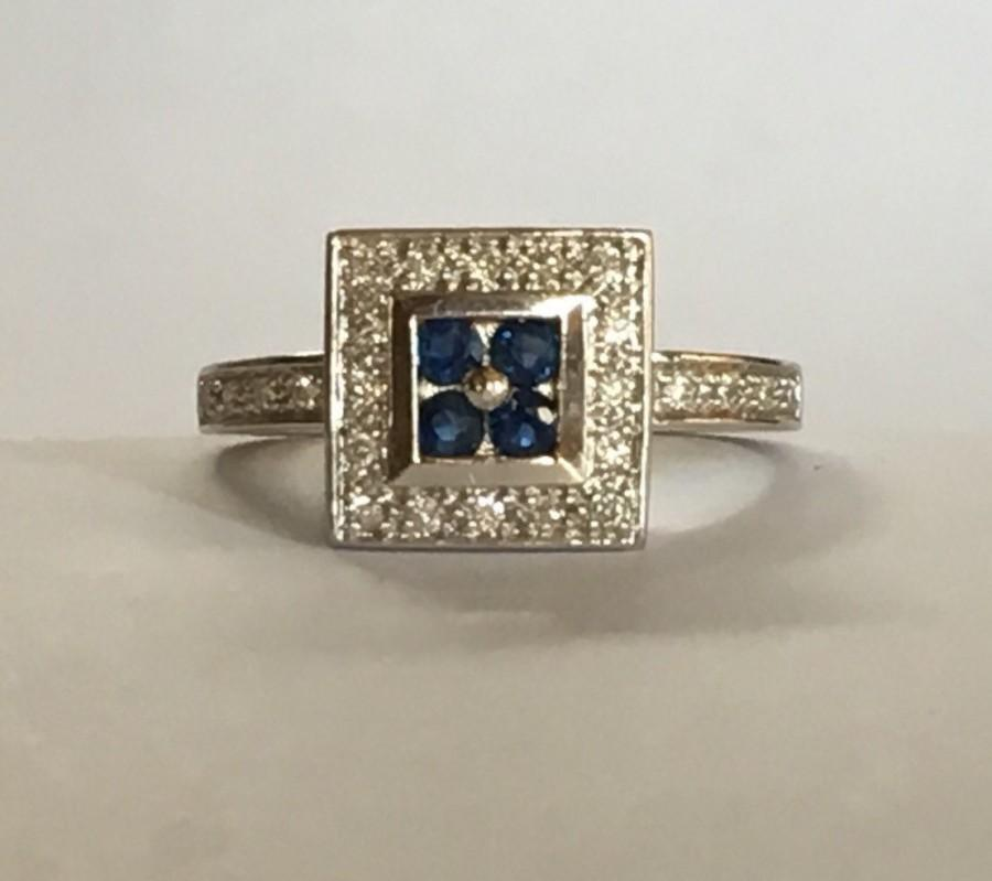 Свадьба - Vintage Sapphire and Diamond Cluster Ring. 14K Gold Art Deco Setting. Unique Engagement Ring. September Birthstone. 5th Anniversary Gift.