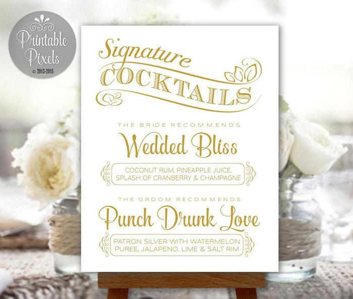 Cocktails sign gold printable wedding party customized with your cocktails sign gold printable wedding party customized with your signature drinks coc2g junglespirit Gallery