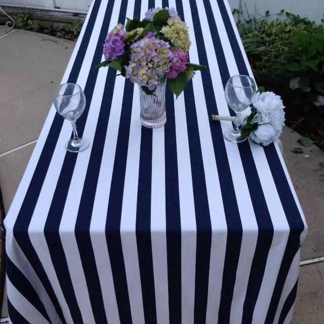 Beau Navy And White Stripe Table Cloth