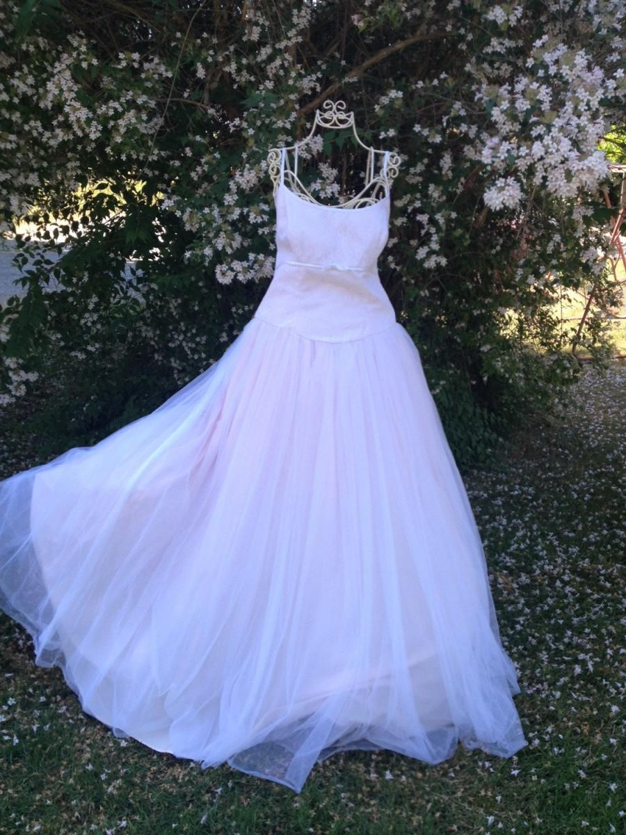 Mariage - Beautiful Pink Wedding Dress Vintage Bridal Ballgown Romantic Fairytale treasury Item ~Sale was 175.00 now 115!!