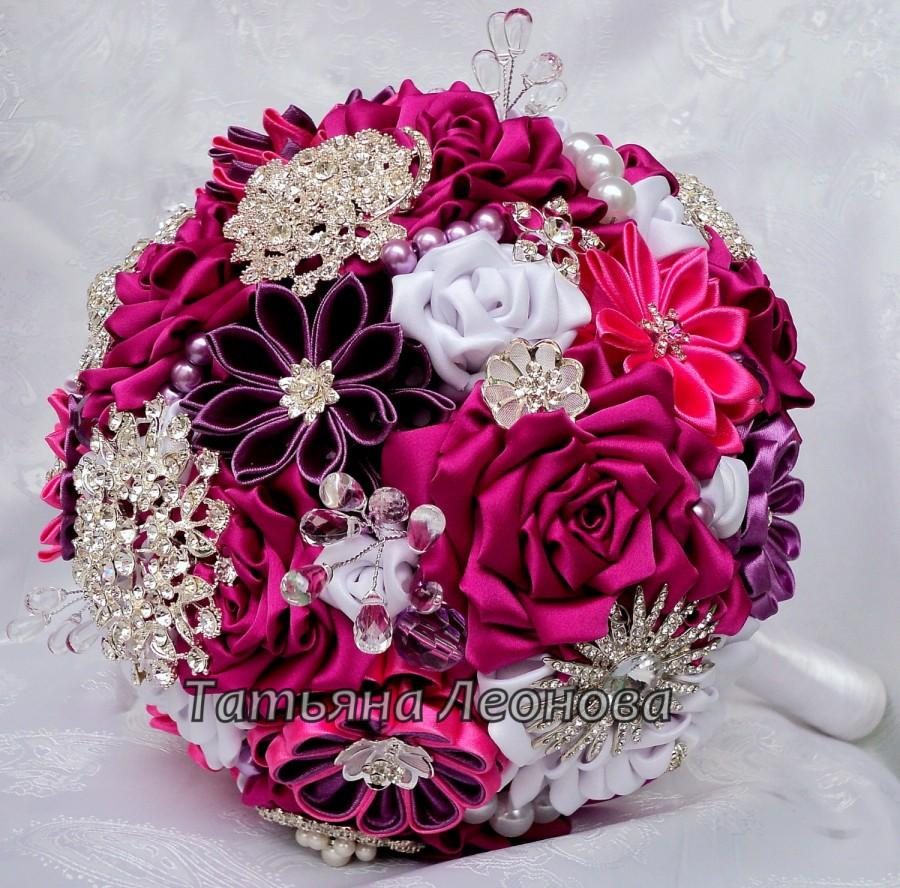 "Wedding - Fabric Wedding Bouquet, Brooch bouquet ""Scarlet""  White and Fuchsia 9"""