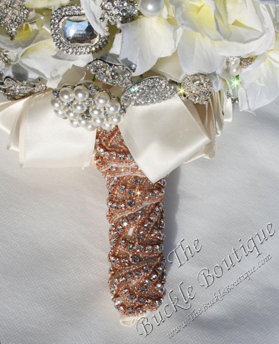Wedding - Rose Gold Beaded w/ Rhinestones Bridal Bouquet Bling Jeweled Stem Wrap   ~w/ instructions, ribbon, pins ~fast ship from Houston USA designer