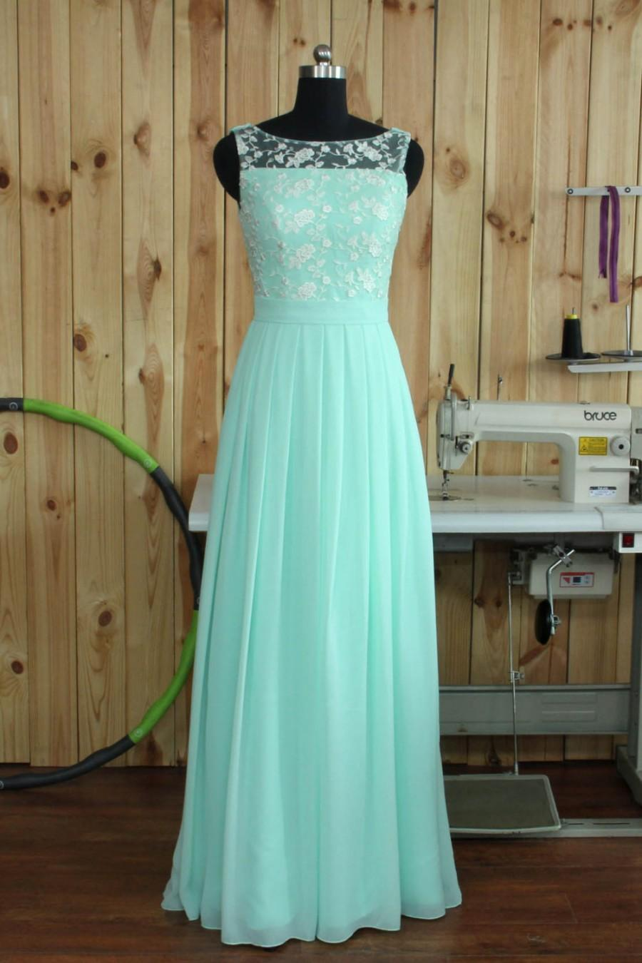 Mariage - 2016 Mint Lace Chiffon Bridesmaid dress, Boat Neck Wedding Party dress, Formal dress, Prom Dress,Woman Evening dress floor length