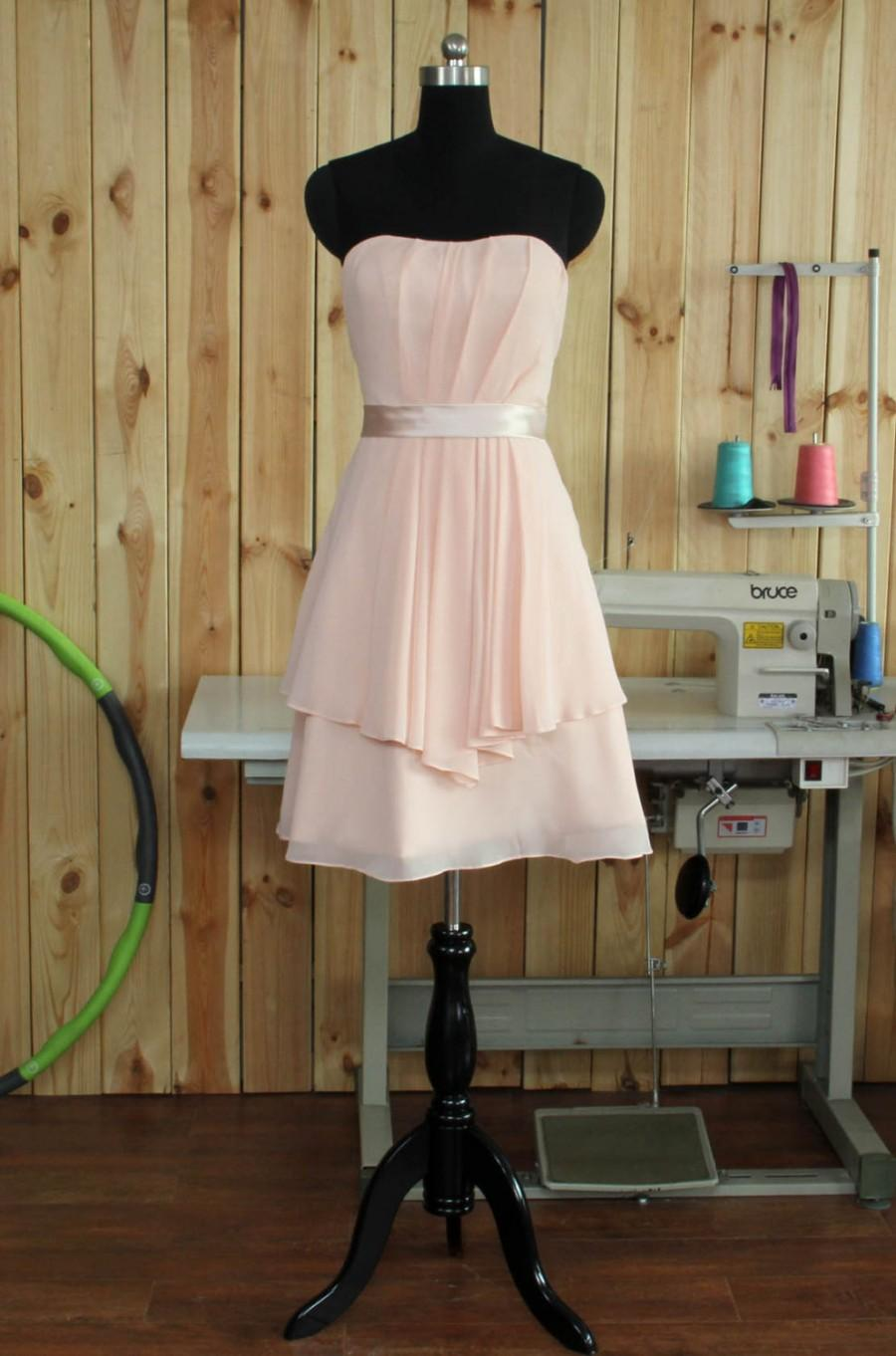 Wedding - 2015 Pink Bridesmaid dress, Strapless Pink Prom dress, Short Wedding dress, a line Formal dress, Cocktail dress knee length