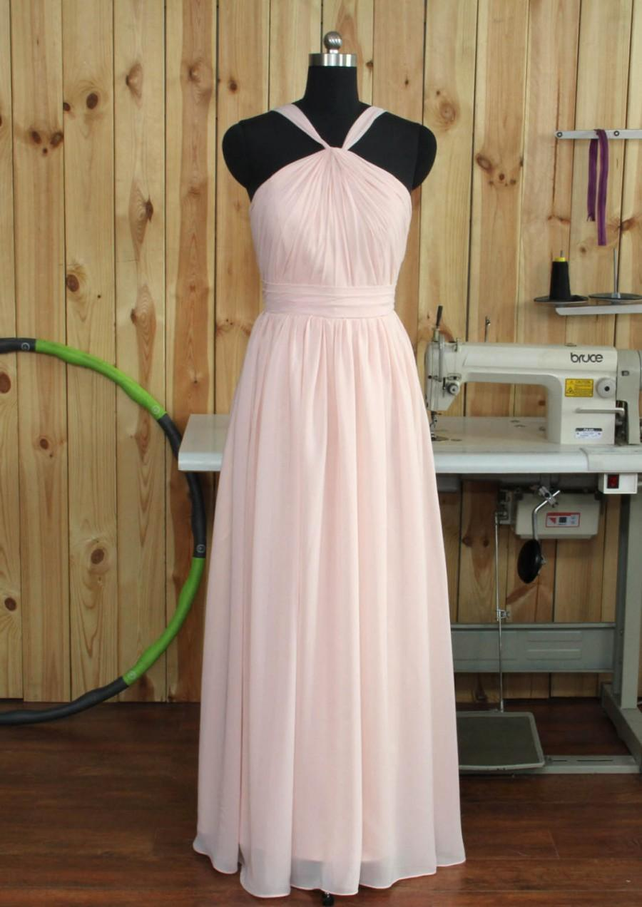 Wedding - 2016 Blush Bridesmaid dress, a line Halter chiffon Formal dress, Backless Detachable Straps Cocktail dress Floor length