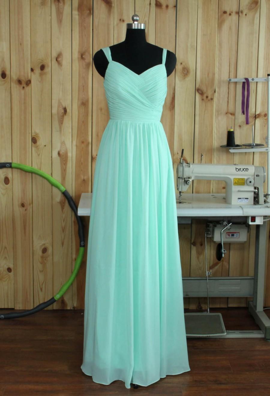 Mint V-neck Bridesmaid Dress, Spaghetti Straps Wedding Party Dress ...