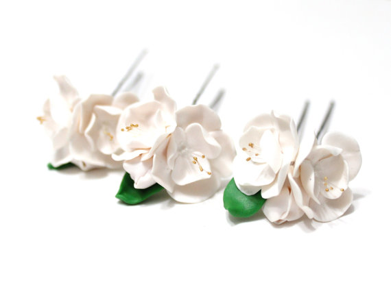 Wedding - Cherry blossom, Bridal White Hair Pins ,Flower hair pin,Simple flowers, Rustic Hair flower, Bridal Hair Pins - SET