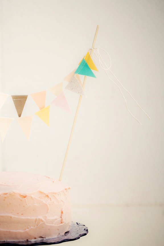 Mariage - Earthy Pastel Mint Blush Buttercup Fabric Bunting Cake Topper Decoration / Vintage Circus Style