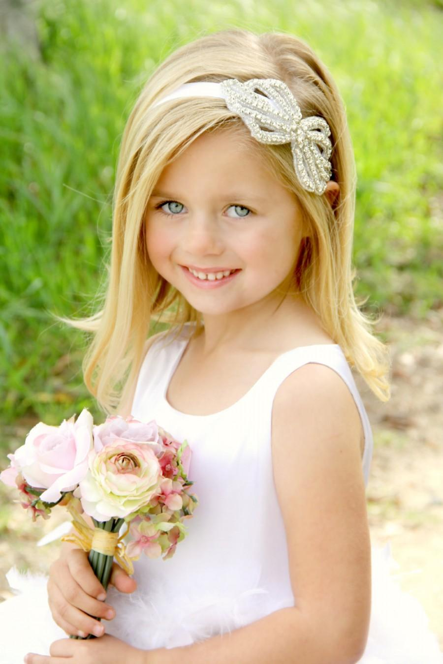 Свадьба - Crystal Headband, Rhinestone Headband, Bridal Headband, Custom Colors, Flower Girl Headband, Gatsby headband, Forehead Headband