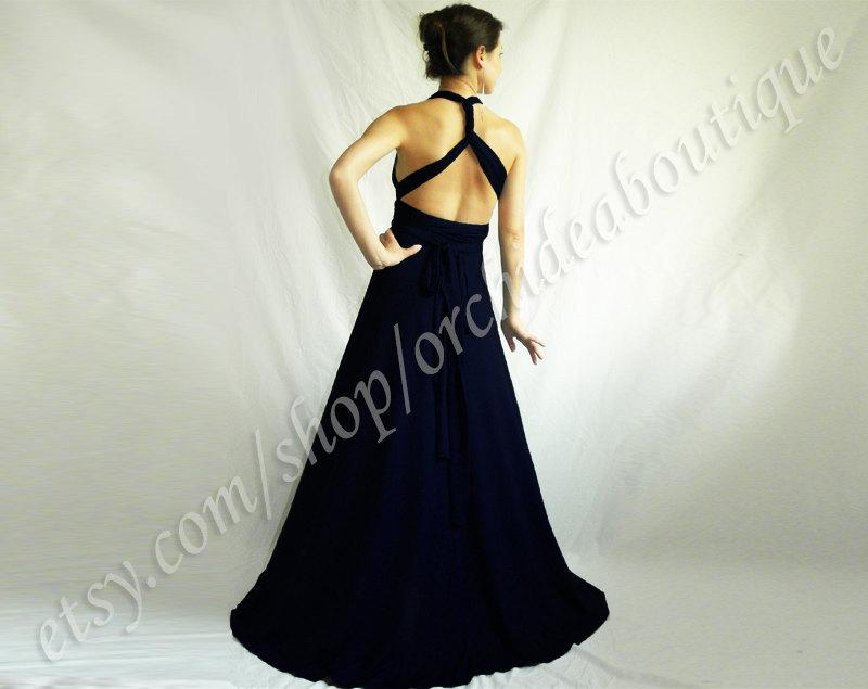 Navy Bridesmaid Formal Infinity Bridesmaids Dress Convertible Wrap